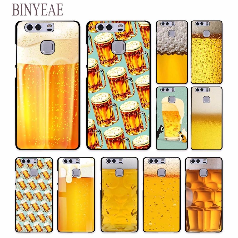 Binyeae развлечение к пиву Открытая Летняя обувь кожи Дизайн Жесткий черный чехол для Huawei P8 P9 Lite 2017 p9 плюс mate9 mate8 nova 2