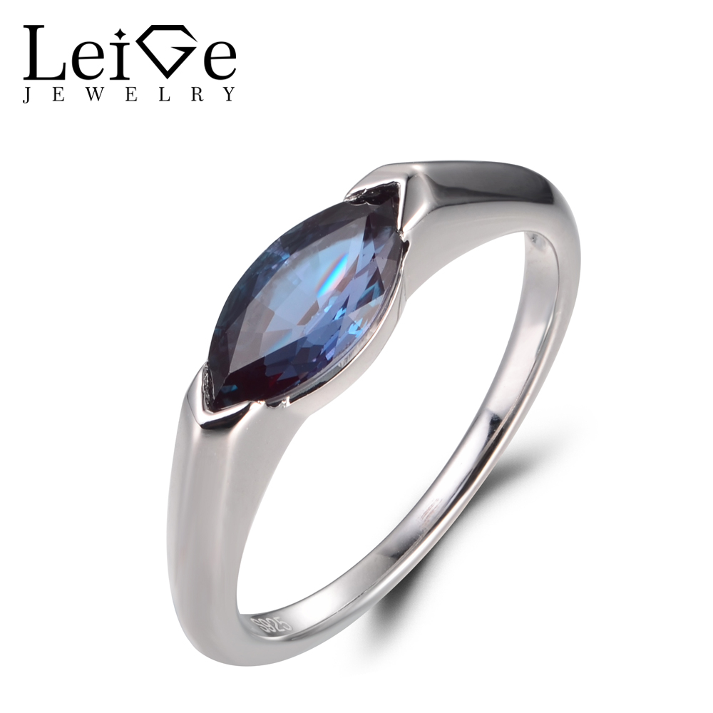LeiGe Jewelry Unique Promise Rings Alexandrite Rings June Birthstone Rings Marquise Cut Gemstone 925 Sterling Silver Simple Ring