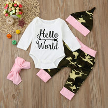 564718f83 4pcs suit !!! Boutique Baby Boys Girls Camouflage Clothes Tops Romper  +Pants +Hat+Headbands Hello World Letter Outfits Set
