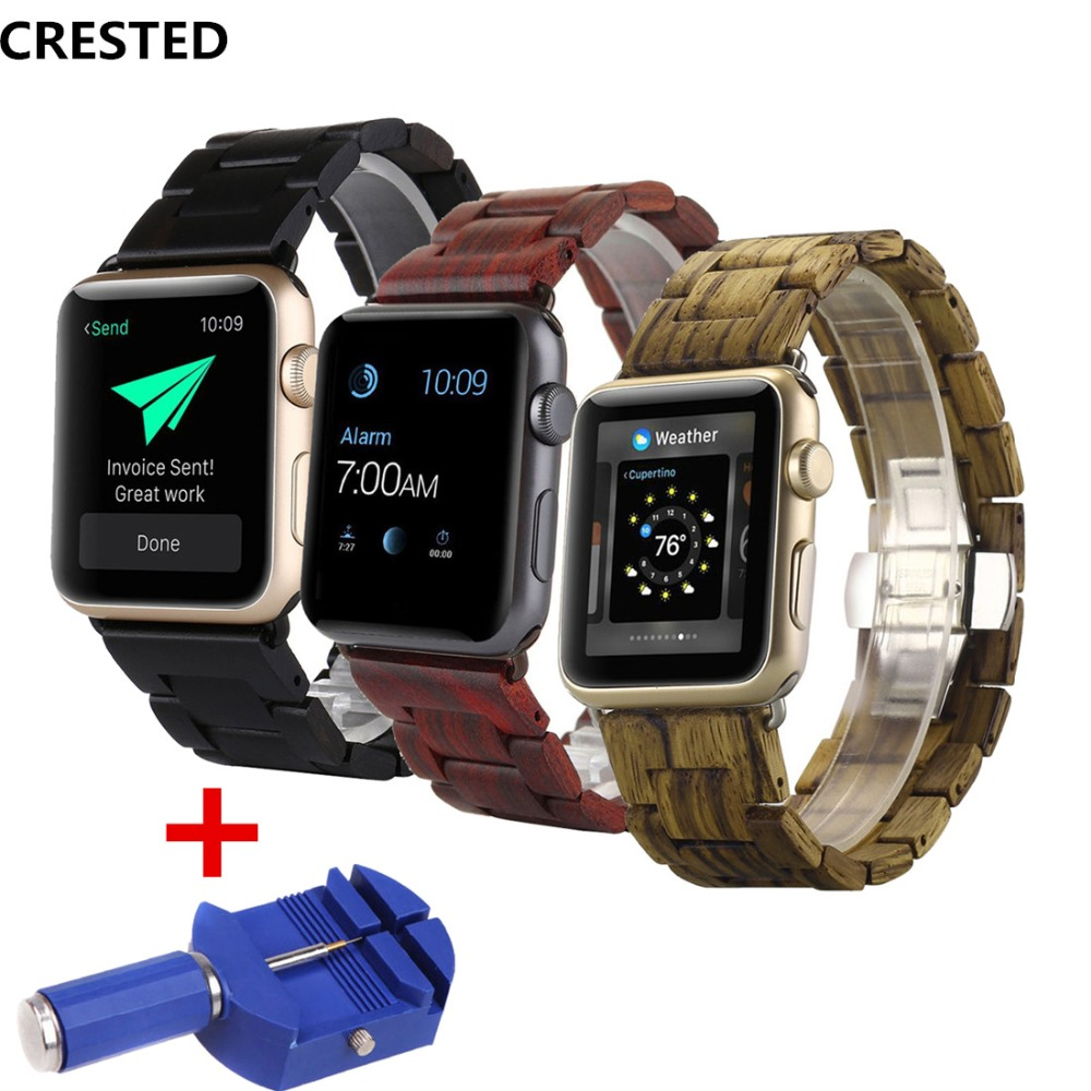 CRESTED Wood Strap For Apple Watch band 42mm/38mm iwatch series 3/2/1 Wooden Butterfly buckle wrist bands Bracelet belt & tool for apple watch band leather watchband for iwatch bands 42mm 38mm series 3 2 1 butterfly buckle bracelet strap wrist accessories