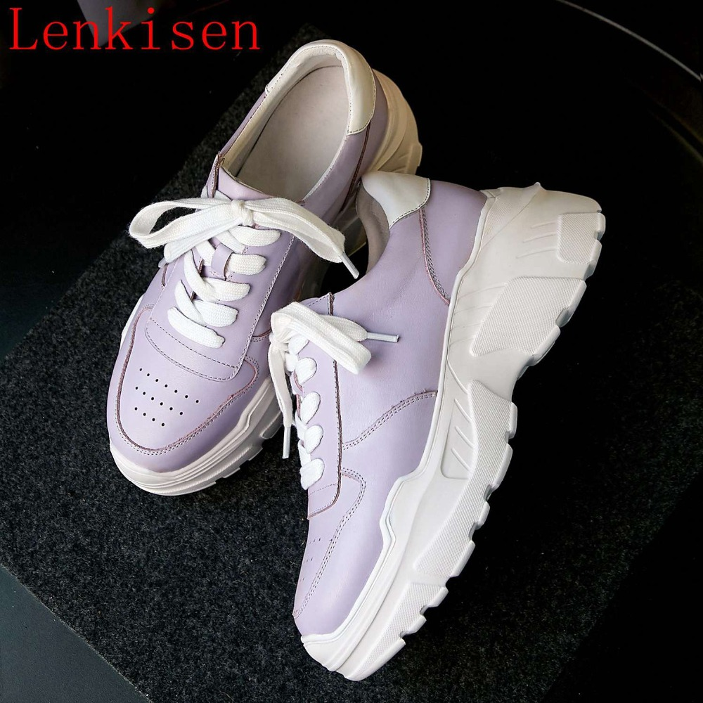 2019 new arrival full grain leather mixed color lace up sneakers round toe high bottom platform