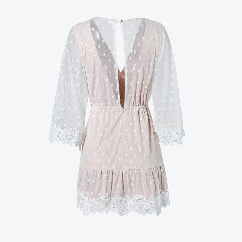 Elegant V-Neck Dot White Mesh Dress 2