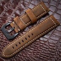 Ручной работы 4 цвета часы Аксессуары Винтаж Натуральная Crazy Horse кожа 20 мм 22 мм 24 мм 26 мм ремешок для часов Ремешок и часы группа