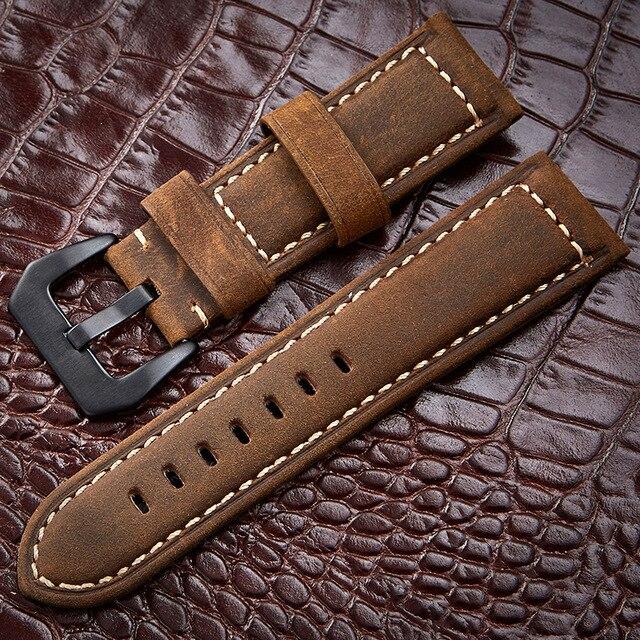 Аксессуары для часов ручной работы, 4 цвета, винтажная натуральная кожа Crazy Horse, 20 мм, 22 мм, 24 мм, 26 мм, ремешок для часов и ремешок для часов