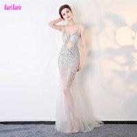 Transparente único Partido de La Sirena Vestidos de Noche 2017 Sexy Vestidos de Noche del V-cuello de Tul Cristal Basando Prom Formal Vestido Largo Nuevo