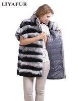 LIYAFUR Both Two Sides Wear Rex Rabbit Chinchilla Fur Coat Vest For Women Winter Warm Down