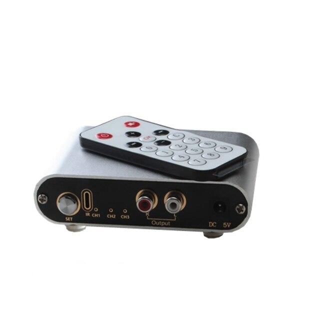 Dos 3 puerto de entrada 1 salida/1 entrada 3 salida RCA señal de entrada de Audio Selector interruptor remoto fuente conmutador para amplificador