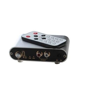 Entrada de 3 puertos de dos vías 1 salida/1 entrada 3 salida RCA Selector de señal de entrada de Audio interruptor remoto interruptor de fuente para amplificador