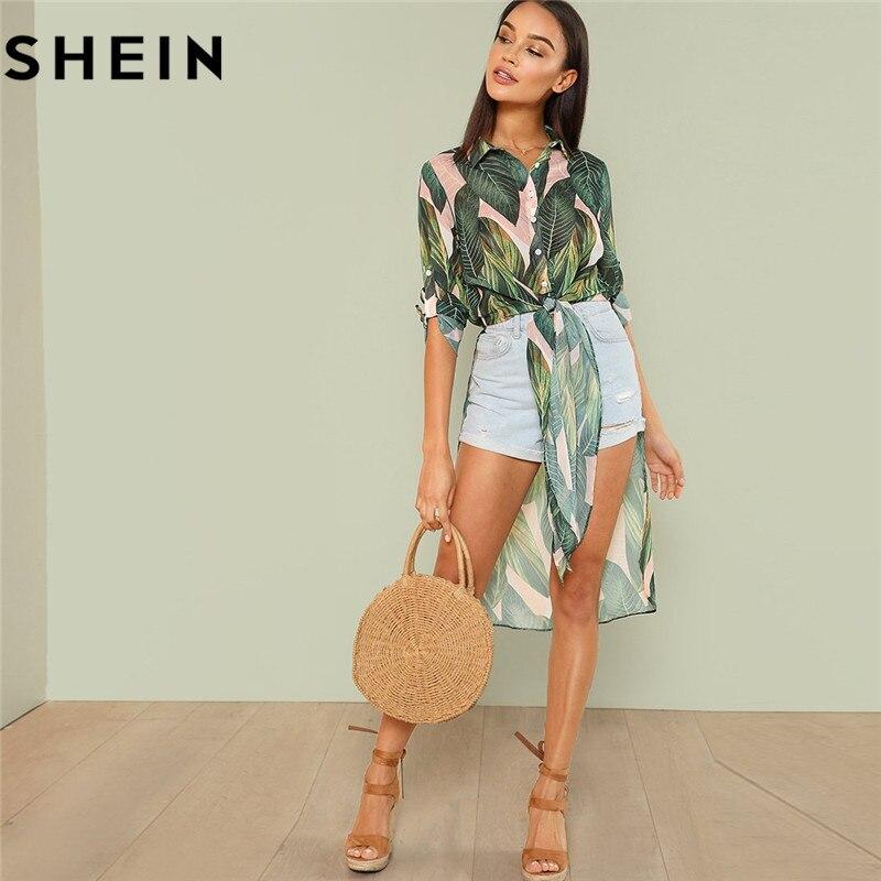 SHEIN Boho Tropical imprimir botón mujeres camisas largas moda playa vacaciones rollo de manga larga nudo asimétrico Hem blusas