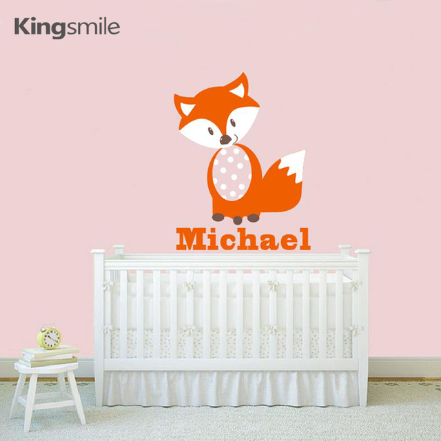 modern fox wall stickers alphabet personalized name decals vinyl