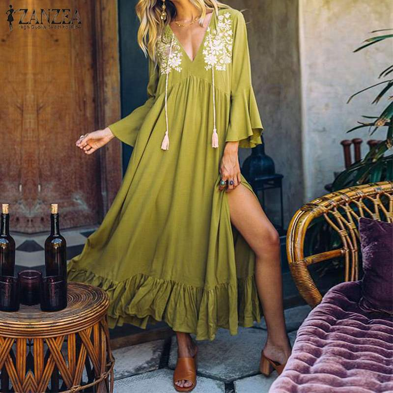 Women Bohemian Beach Dress ZANZEA Summer V Neck Split Hem Sundress Female Floral Printed Ruffles Long Vestido Robe Flare Sleeve