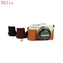 NEW ! Fashional Camera Bag Case For Olympus E-PL9 E-PL8 E-PL7 PU Leather Half Body Set Cover With Battery Opening