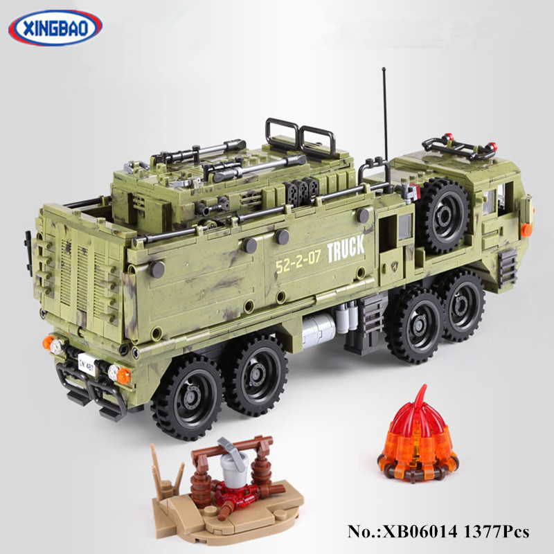 IN STOCK XINGBAO 06014  1377PCS Military Series The Scorpion Heavy Truck Set Building Blocks Bricks Toys Children Christmas Gift xingbao 06009 military series the extreme snowmobiling sets legoinglys building nano blocks bricks toys for children kids