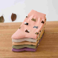 free shipping 150PCS/LOT 5 colors Autumn New sock Animal cartoon cat lovely for women cotton socks