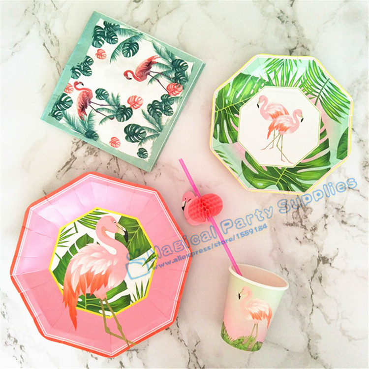 16 Sets <font><b>Pink</b></font>/Green Flamingo Tableware Party Paper Plates <font><b>Sweet</b></font> Dishes Paper <font><b>Cups</b></font> Baby Shower Favor Paper Napkins Drinking Straws