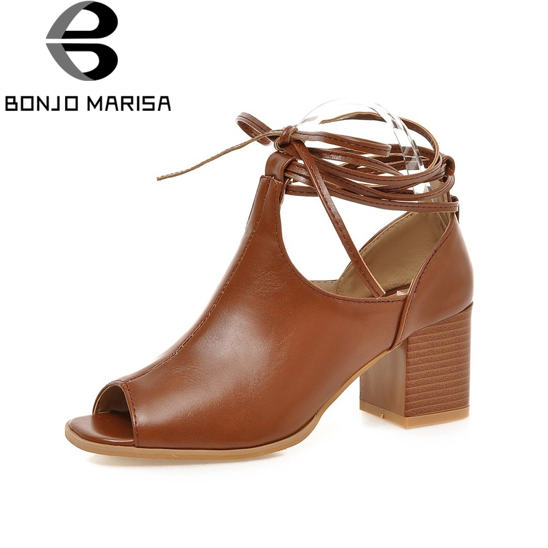 BONJOMARISA new big size 33-43 brand shoes women high heels Ankle-wrap summer shoes sandal fashion gladiator woman shoes sandals цена 2017