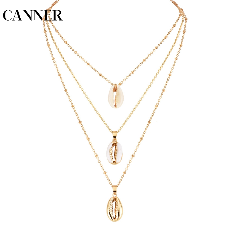 CANNER Three Layers Shell Pendant Necklace Natural Gold Cowrie Women Best Friend Cowry Seashell Necklace Bohemian Jewelry R4 necklace