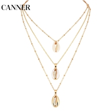 CANNER Three Layers Shell Pendant Necklace Natural Gold Cowrie Women Best Friend Cowry Seashell Necklace Bohemian Jewelry R4 three layers of shell pendant necklace natural shell gold cowrie women best friend cowry choker summer necklace bohemian jewelry