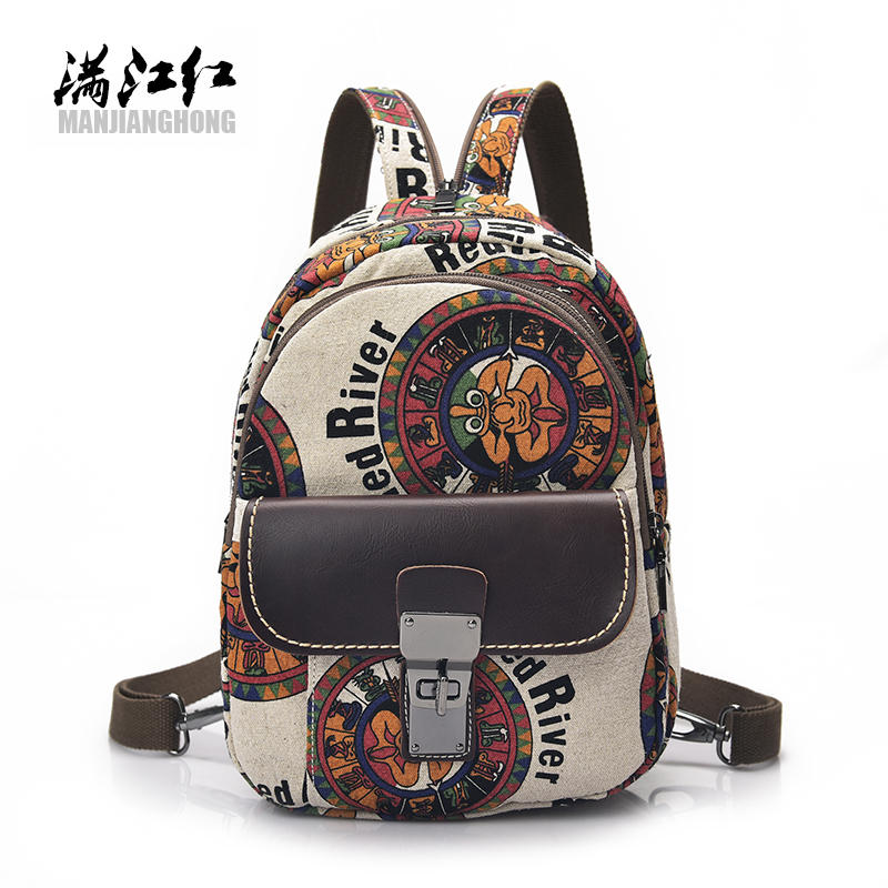 Fashion Women Backpack Cartoon Print Canvas Shoulder Student Bag For Teenage Girls Casual Small Women Travel Backpack Bag 1379 casual aquarius print and canvas design shoulder bag for women