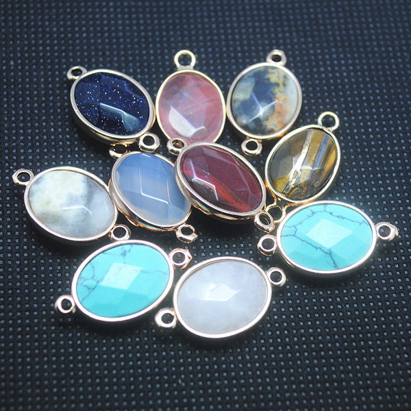 5pcs Nature Semi Precious Stone Assorted Stone Connectors Or As Spacer Beads For Bracelets Oval Shape 13x18mm