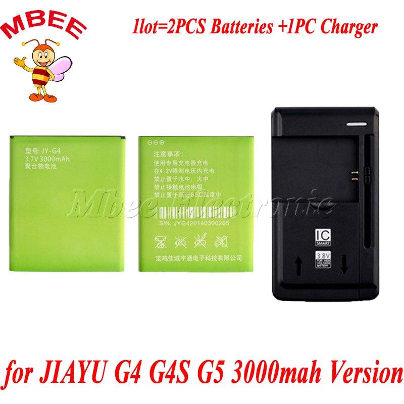imágenes para 1 lot = 1 unid turística cargador 2 unids 3000 mah versión g5 jy-g5 batería para jiayu g4 jy-g4 g4s batería batería accu akku pil
