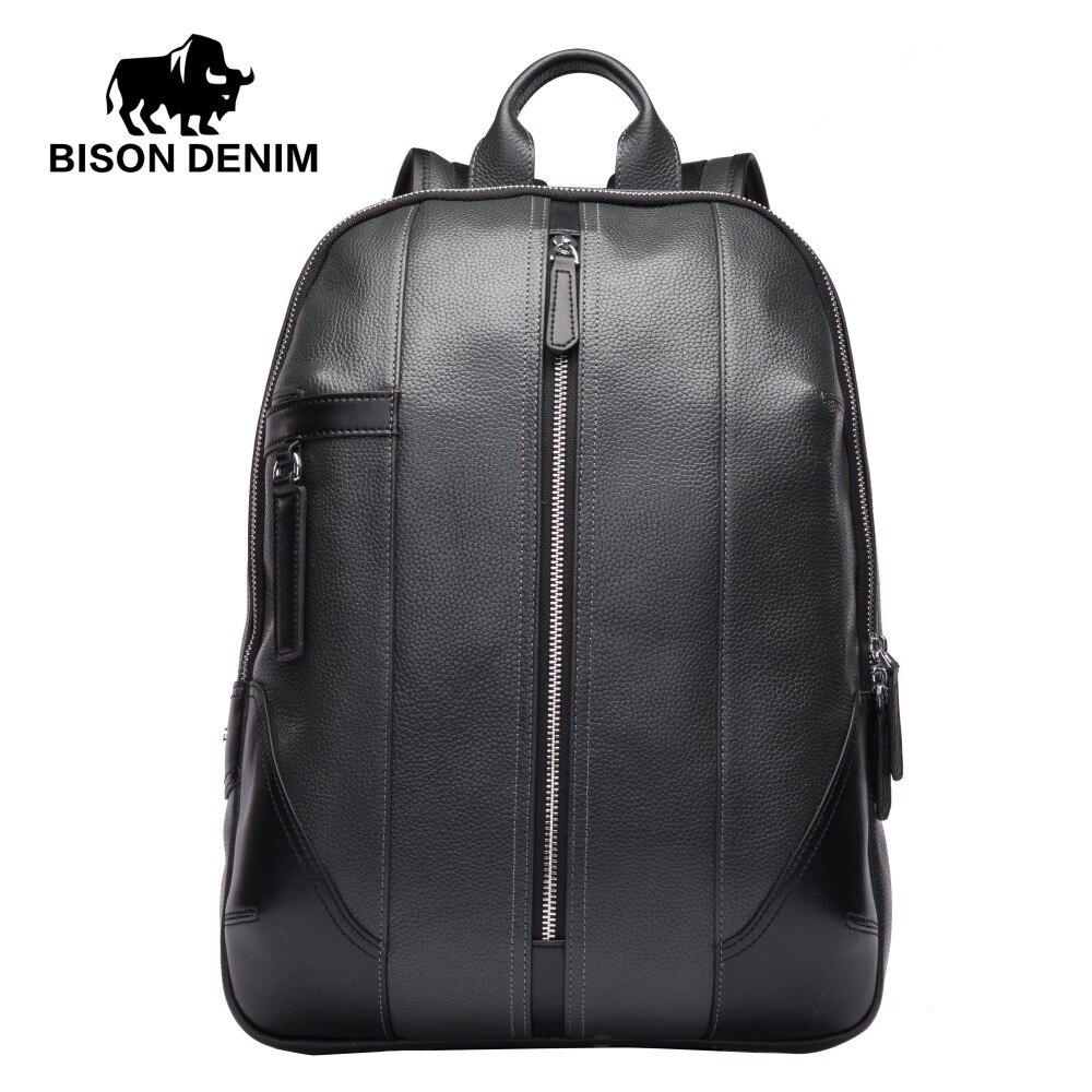 BISON DENIM Genuine Leather Men Backpacks Male Zipper Designer School Backpack Men's Travel Cowhide Backpack 14 Laptop N2536 2018 bison denim genuine leather laptop backpack male casual backpack travel backpack male fashion backpack schoolbag for men