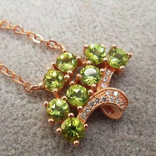 LANZYO 100% 925 Sterling Silver Peridot Pendants Peridot  Fashion Gift For Women Classic Fine Jewelry Z0404150agg
