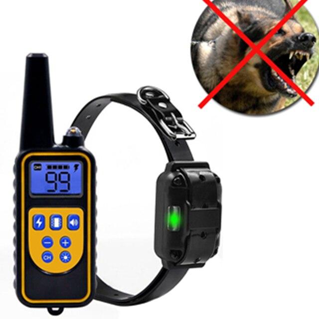 1000 متر جهاز تدريب الكلاب عن بعد صدمة الإلكترونية طوق مع شاشة الكريستال السائل مقاوم للماء قابلة للشحن الكلب التدريب
