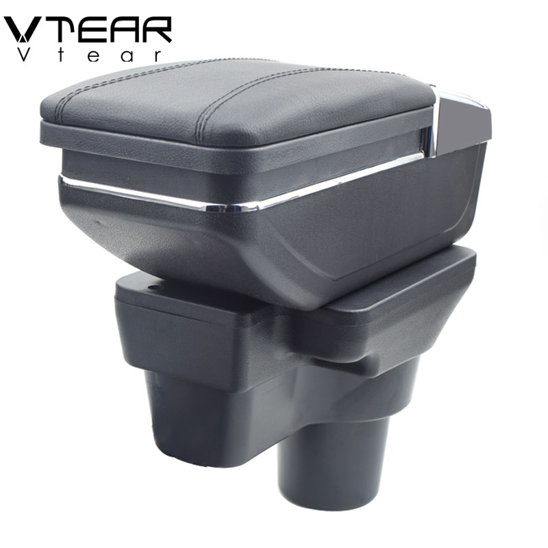 Vtear For Hyundai solaris 2 accent Verna armrest box central Store content box cup holder ashtray