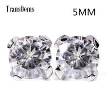 Transgems Classic 14K 585 White Gold Moissanite Earrrings for Women 1CTW 5mm 0.5ct F Color Stud Earrings Push Back