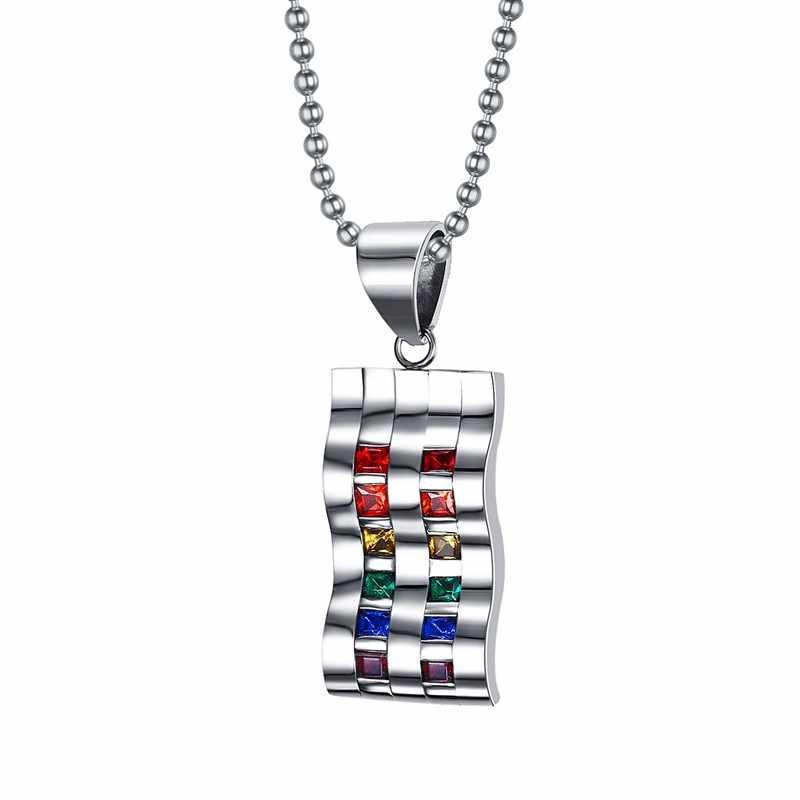 Mprainbow Nữ Dây Chuyền Inox Rainbow Sóng Khối Zirconia Mặt Dây Chuyền Vòng Cổ Trang Sức Thời Trang Collier Người Bạn Thân Nhất Quà Tặng