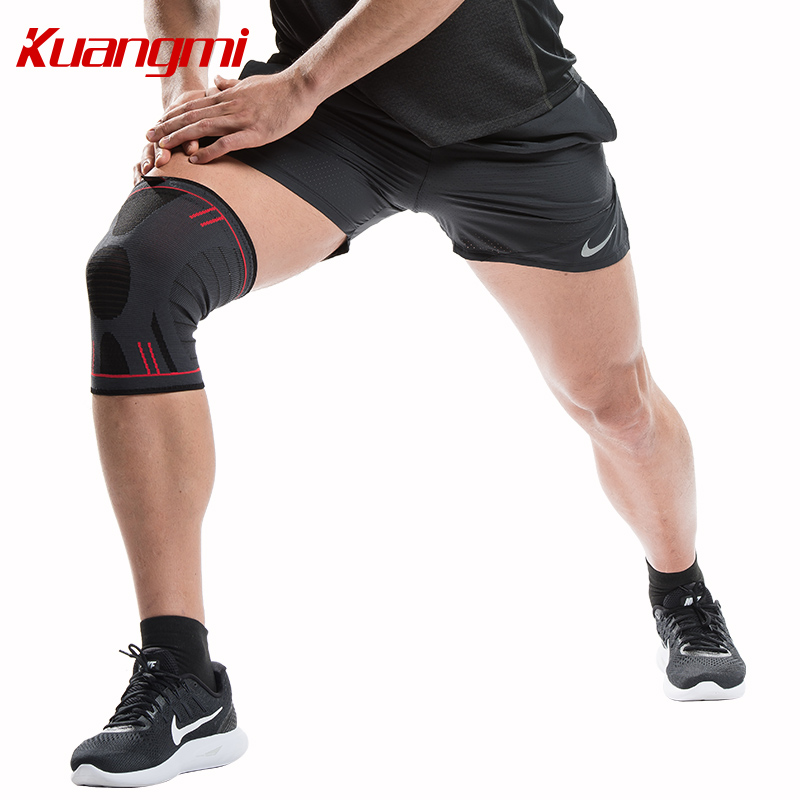 Kuangmi 1 pair Elastic knee sleeve Compression Support Sports Brace Volleyball Knee Pad Basketball Joint Pain Relief Protector in Elbow Knee Pads from Sports Entertainment