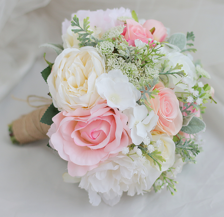 Modabelle Bride Hand Flower Bouquet White Peony Red White Rose