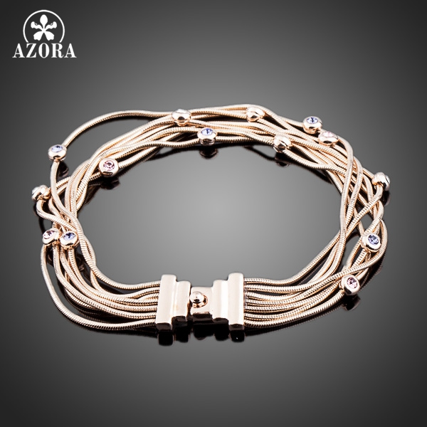 AZORA Seven Coil Rose Gold Plated Stellux Austrian Crystal Jewelry Bracelets TS0026
