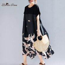 قميص فستان صيفي مناسب للعطلات غير رسمي موديل 2019 من belinoosa فستان أسود مطبوع بحافة غير منتظمة مقاس كبير TYW00972