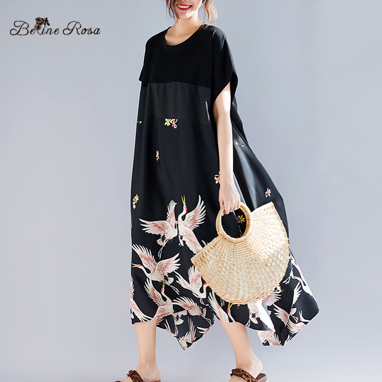 BelineRosa 2019 Summer Holiday Casual Style Shirt Dresses Elegant Printing Irregular Hem Black Plus Size Tunic Dress TYW00972