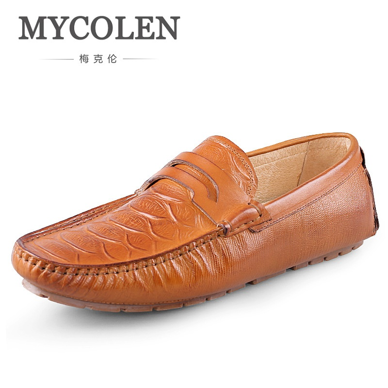 MYCOLEN Mens Loafers Genuine Leather Italian Luxury Crocodile Style Slip On Smart Casual Breathable Dress Shoes For Male mycolen mens loafers genuine leather italian luxury crocodile pattern autumn shoes men slip on casual business shoes for male