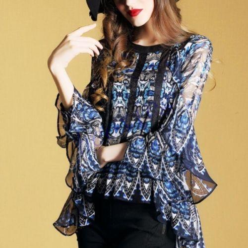 Offres spéciales femmes neuf Points manches Blouse en mousseline de soie imprimé Floral hauts chemises K45