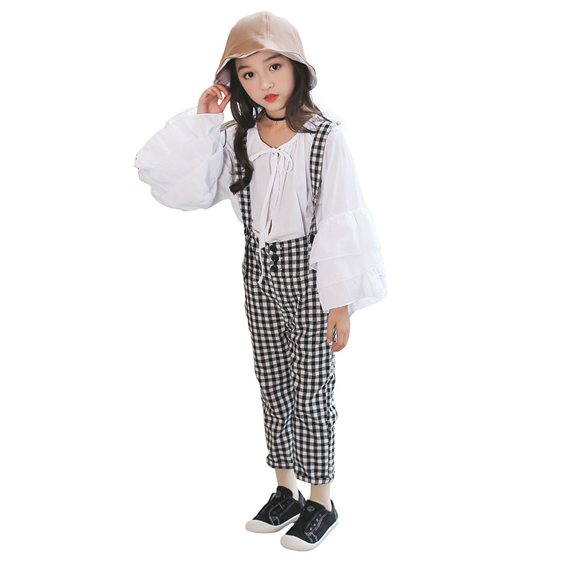 Teenage Clothing Set For Girls 2018 Spring Clothes 5 6 7 8 9 10 11 12 13 14 15 Years White Shirt + Plaid Pant 2pcs Girls Outfits