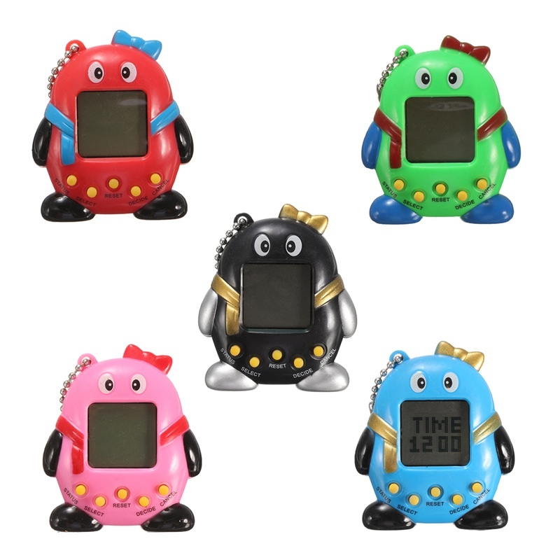Novelty 168Pets 90S Nostalgic Virtual Pet Cyber Pet Digital Pet Tamagotchi Penguins E-pet Gift Toy Handheld Game Machine