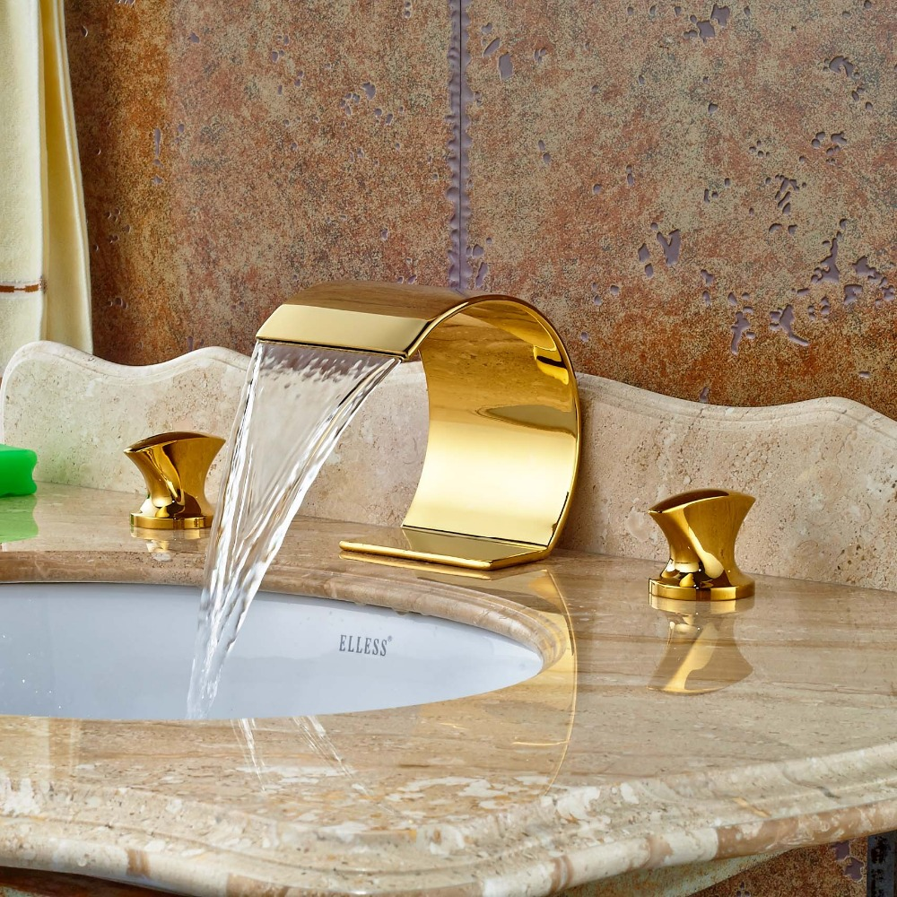 Creative Design Waterfall Bathroom Basin Faucet Dual Handles Vanity Sink Mixer Tap Gold Finish декор lord vanity quinta mirabilia grigio 20x56