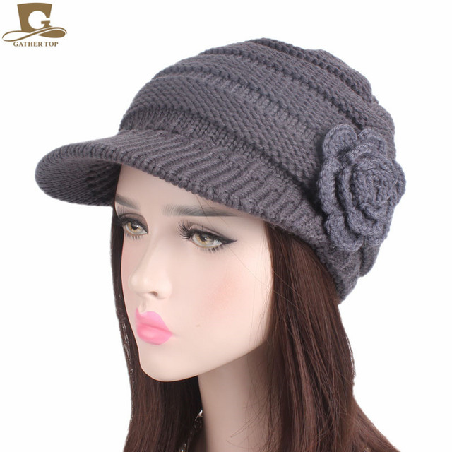 NEW Women Girls Knit Visor Slouchy Beanie Hat Knitted Beret Cap With  Crochet Flower Winter Warm Knitting Hats 62189a94681