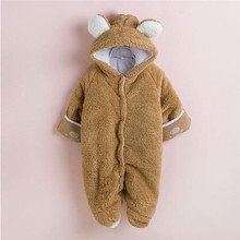 3-24 Months Outfit NewbornWarm Winter Newborn Baby Girls Boys Coral Fleece Hoodie Jumpsuit Romper Outfits Baby Boys Costume