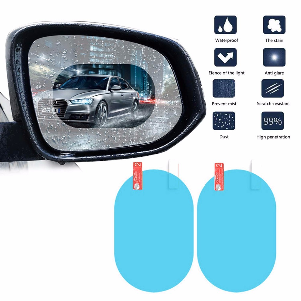 Anti-Scratch Anti-Glare HD Crystal Vision Hydrophilic Mirror Protector Kit: Anti Fog Waterproof Protective Nano Shield Stickers for All Vehicles Glare Film for Car Side View Mirrors Water