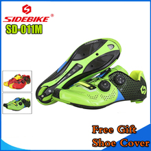 SIDEBIKE MTB Cycling Shoes Men Road Bike Ultra light carbon fiber Sole Auto-lock Bicycle Sport Shoes Zapatillas Ciclismo GREEN