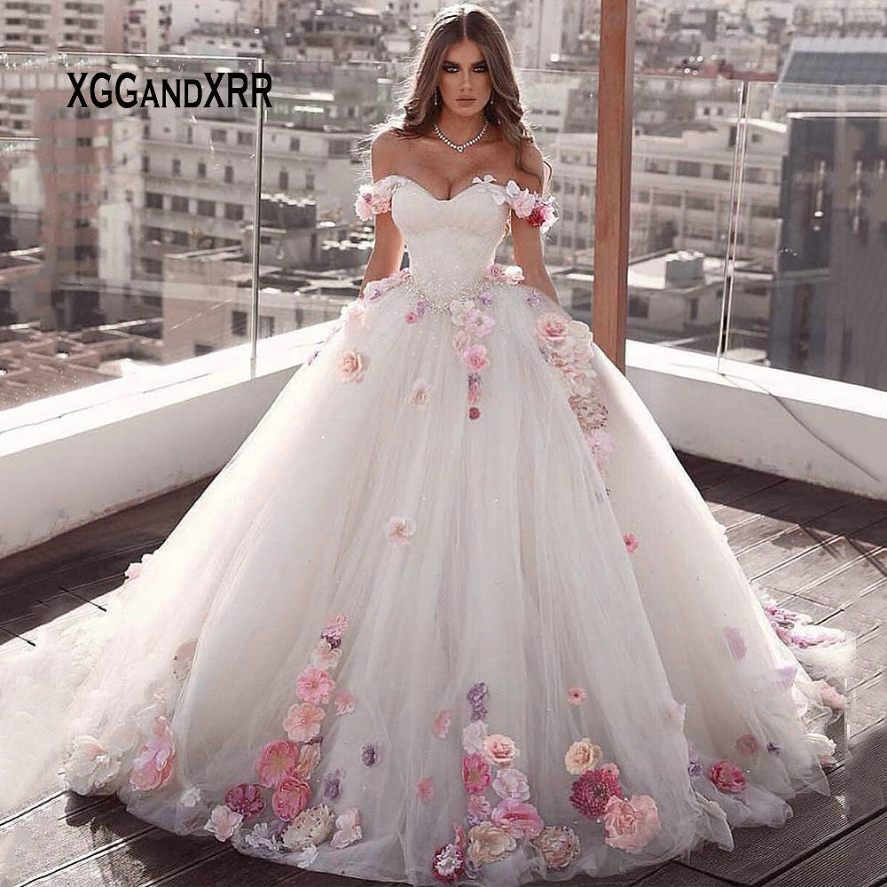 2019 Ball Gown Wedding Dresses 2019 Sweetheart Off Shoulder Pink Flower Bridal Gown Backless Sweep Train Bride Dress Plus Size