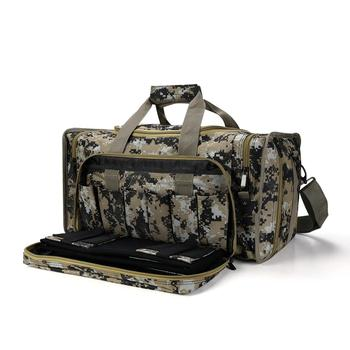 Tactical Gun Range Bag Shooting Duffle Bags for Handguns Pistols with Lockable Zipper and Heavy Duty Antiskid Feet(Camouflage)