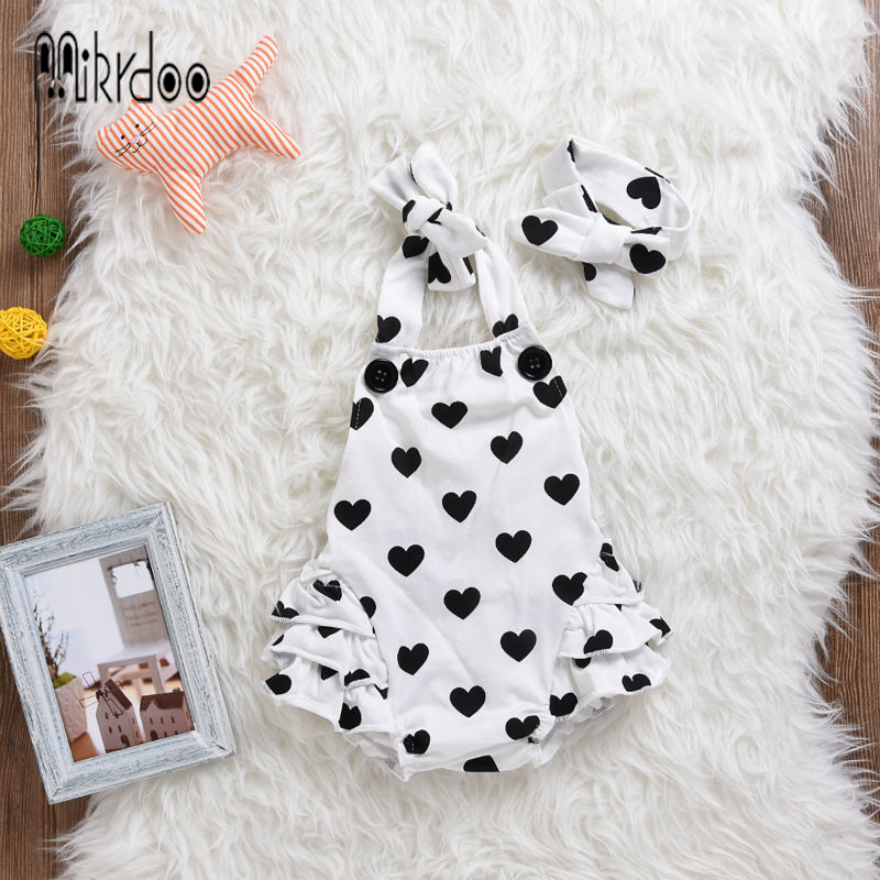 Baby girl clothes sleeveless strap romper kids jumpsuit infant outfit cotton suit heart dot clothing set children costume sale 1set baby girl polka dot headband romper tutu outfit party birthday costume 6 colors