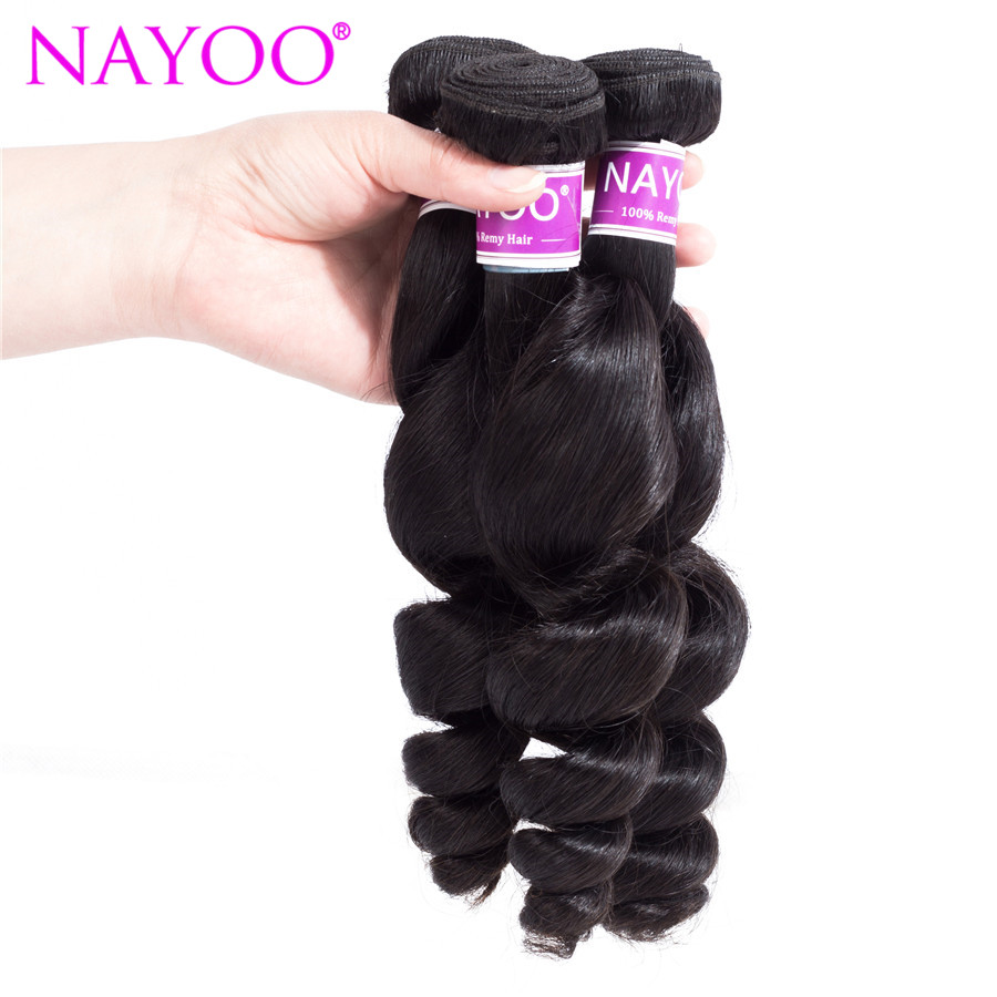 NAYOO Loose Wave Mongolian Hair Weave Bundles 100% Human Hair 1 Piece 8-26inch Remy Hair Extension No Tangle Can be Dyed