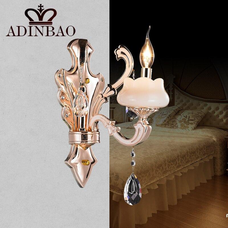 ФОТО Decorative Crystal Wall Sconce Champagne Jade Wall Light Candle Led Wall Light E14 Lighting F031-1